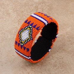 Glass Zulu Beaded Orange Cuff Bracelet (South Africa)