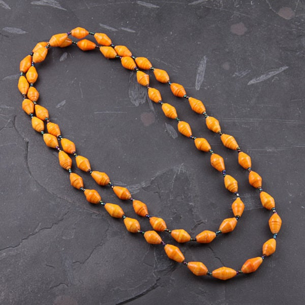 Recycled Orange Paper Necklace (Uganda)