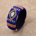 Glass Zulu Beaded Blue Cuff Bracelet (South Africa)