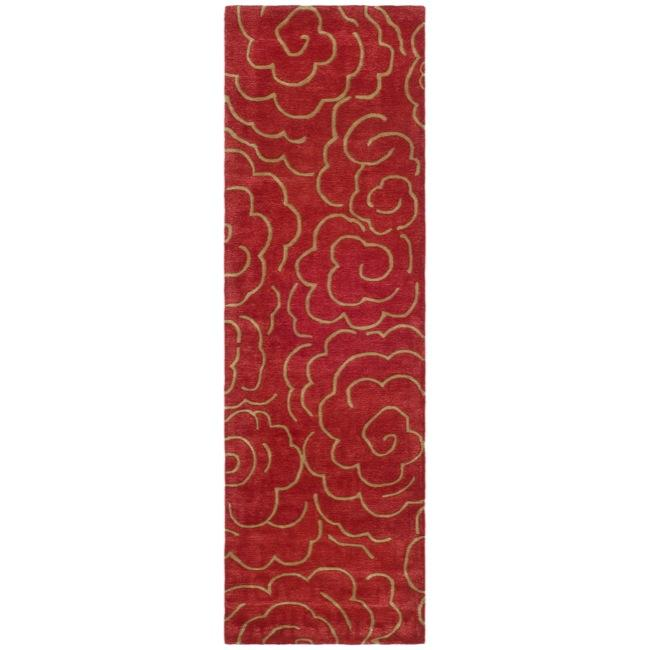 Safavieh Handmade Soho Roses Red New Zealand Wool Runner (2'6 x 8')