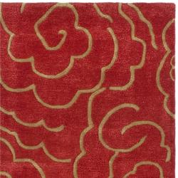 Handmade Soho Roses Red New Zealand Wool Runner (2'6 x 8')