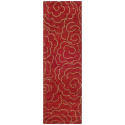 Handmade Soho Roses Red New Zealand Wool Runner (2'6 x 8')