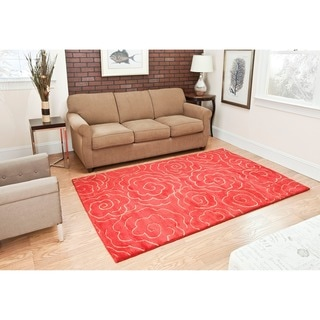 Handmade Soho Roses Red New Zealand Wool Rug (3'6 x 5'6')