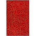 Handmade Soho Roses Red New Zealand Wool Rug (5'x 8')