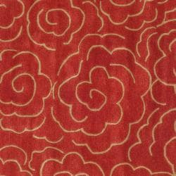 Handmade Soho Roses Red New Zealand Wool Rug (6' Square)