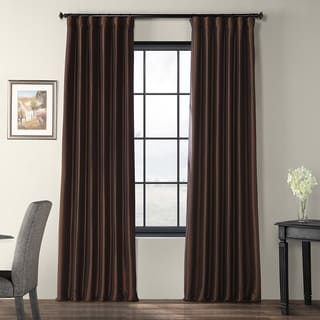 Signature Espresso Faux Taffeta Silk 96-inch Curtain Panel