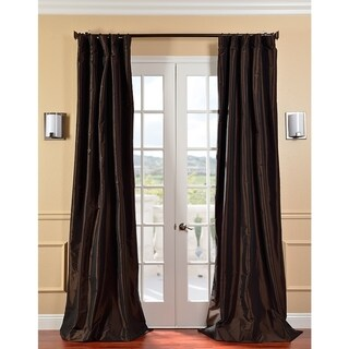 Signature Espresso Faux Taffeta Silk 108-inch Curtain Panel