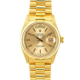 Pre-owned Rolex President Men's Day/ Date 18k Gold Watch