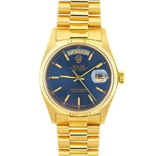 Pre-owned Rolex President Men's 18k Gold Day/ Date Blue Dial Watch