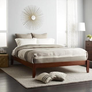 Scandinavia Queen-size Solid Wood Tapered Leg Platform Bed
