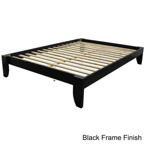 solid wood full size platform bed mattress furniture box spring transitional new. Black Bedroom Furniture Sets. Home Design Ideas