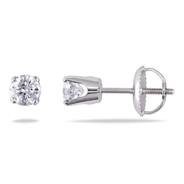 14K White Gold 1/2ct TDW Solitaire Earrings with Screwbacks (J-K, I2-I3)