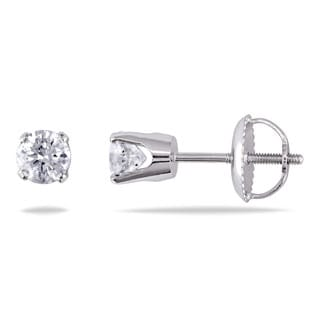 14k Gold 1/2ct TDW Round Stud Earrings with Screwbacks
