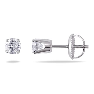 Miadora 14k White Gold 1/2ct TDW Round Diamond Stud Earrings