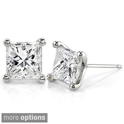 Annello 14k Gold 2ct TDW Princess-cut Premier Diamond Stud Earrings (G-H, SI1-SI2)
