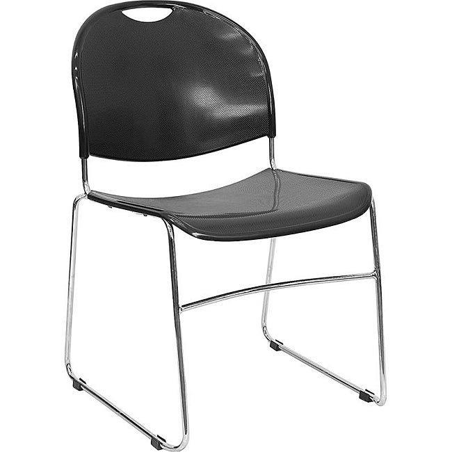 Plastic Stack Chair with Chrome Sled Base