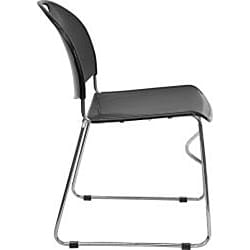 Black Plastic Stack Chair with Chrome Sled Base