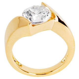 NEXTE Jewelry 14k Gold Vermeil Floating Round-cut Cubic Zirconia Solitaire Ring