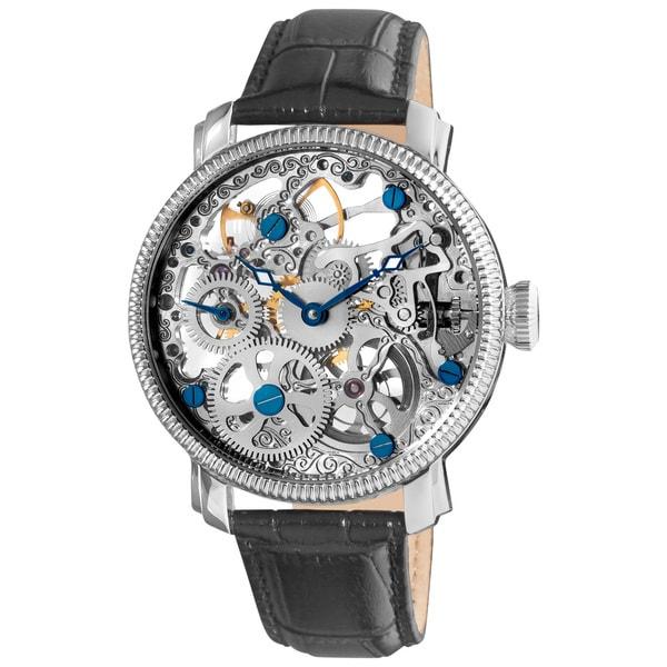 Akribos XXIV Men's Stainless Steel Silvertone Mechanical Skeleton Strap Watch