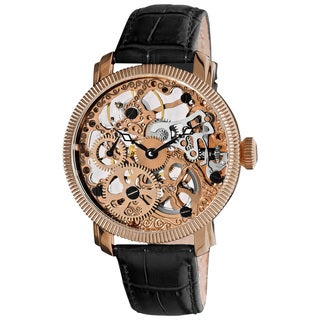 Akribos XXIV Men's Mechanical Skeleton Rose Goldtone Strap Watch
