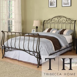 TRIBECCA HOME Camelia Graceful Scroll Bronze Iron Full-size Sleigh Bed