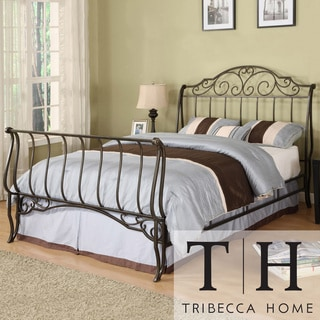 TRIBECCA HOME Camelia Graceful Scroll Bronze Iron Queen-size Sleigh Bed