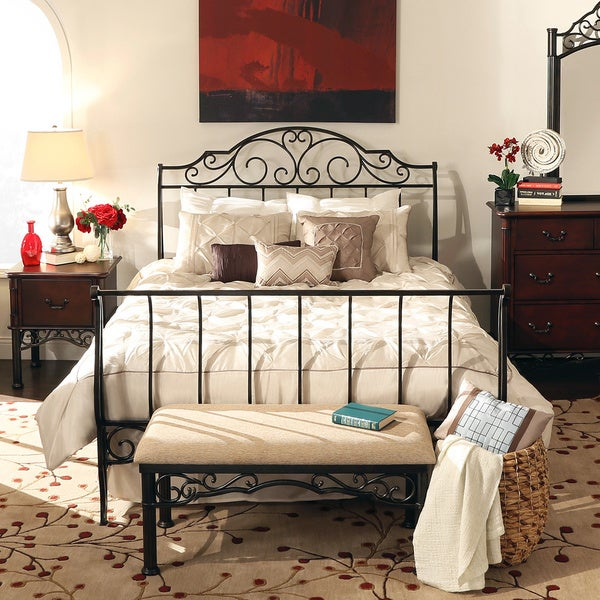 Tribecca Home Camelia Graceful Scroll Bronze Iron Queen Sized Sleigh Bed 12927508 Overstock