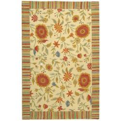 Handmade Jardine Ivory Wool Rug (9'9 x 13'9)