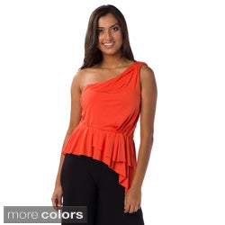 AtoZ Women's Asymmetrical One-shoulder Top