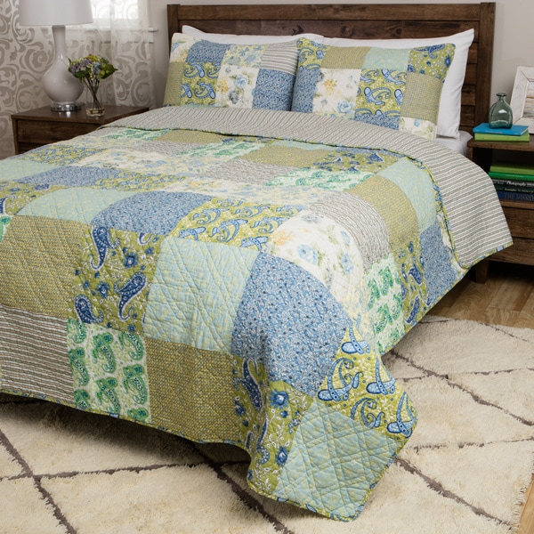 Greenland Home Fashions Vintage Jade 3-Piece Quilt Set
