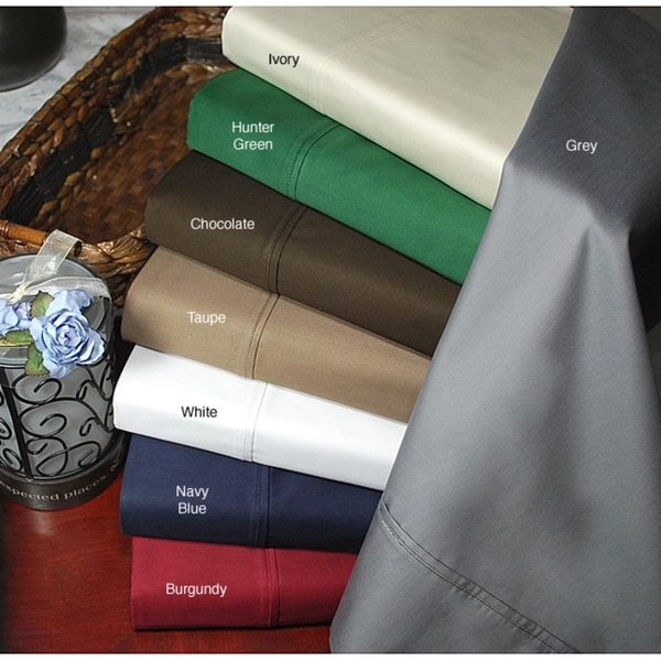 Luxor Treasures Egyptian Cotton Sateen 400 Thread Count Deep Pocket Solid Sheet Set