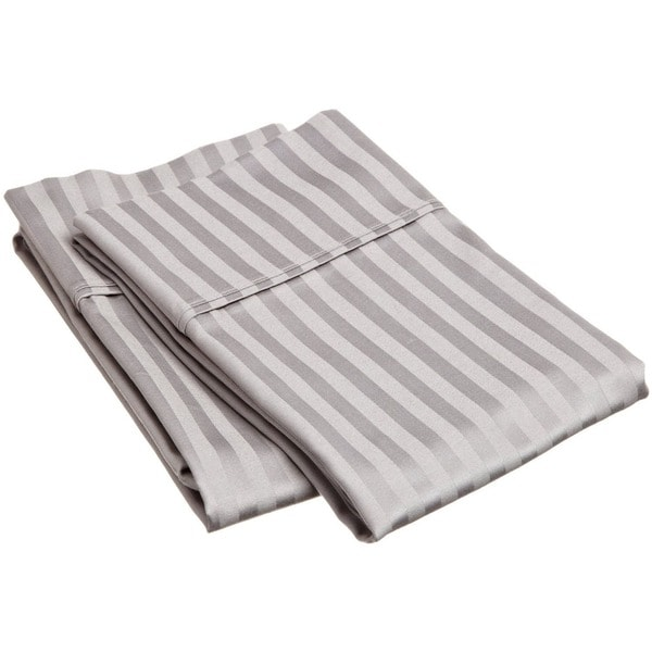 Superior 100% Premium Long-staple Combed Cotton 400 Thread Count Stripe Pillowcases (Set of 2) King Size in White (As Is Item)