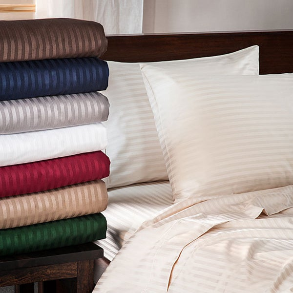 Luxor Treasures Egyptian Cotton 400 Thread Count Sateen Striped Deep Pocket Sheet Set