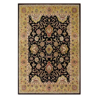 Hand-tufted Delhi Black Border New Zealand Wool Rug (8' x 10')