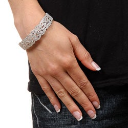 Rhodium-plated Brass Cubic Zirconia 'Vintage Flower' Bangle Bracelet