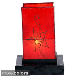 Leather and Iron 'Jasmine' Henna Table Lamp (Morocco)