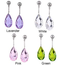 Rhodium-plated Brass Cubic Zirconia Dangle Earrings