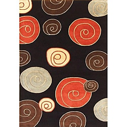 Alliyah Handmade Black New Zealand Blend Wool Rug (5' x8')