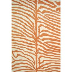 Hand-tufted Orange/ Ivory Zebra Wool Rug (6' Square)