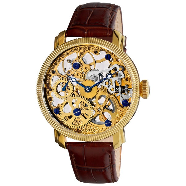 Akribos XXIV Men's Stainless Mechanical Skeleton Strap Watch