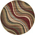 Nourison Summerfield Waves Beige Geometric Rug (5'6 Round)