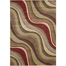 Nourison Summerfield Waves Beige Geometric Rug (5'6 x 7'5)