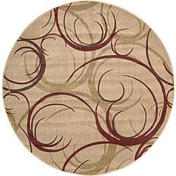 Nourison Summerfield Beige Abstract Rug (5'6 Round)