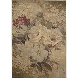 "Nourison Summerfield Beige Floral Polyacrylic Rug (5'6"" x 7'5"")"
