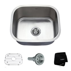 Kraus Undermount Single Bowl Steel Kitchen Sink with Grid