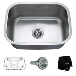 Kraus Undermount Single Bowl Stainless Steel Kitchen Sink with Grid