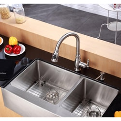 Kraus Kitchen Combo Set Stainless Steel 36-inch Farmhouse KiSink with Faucet