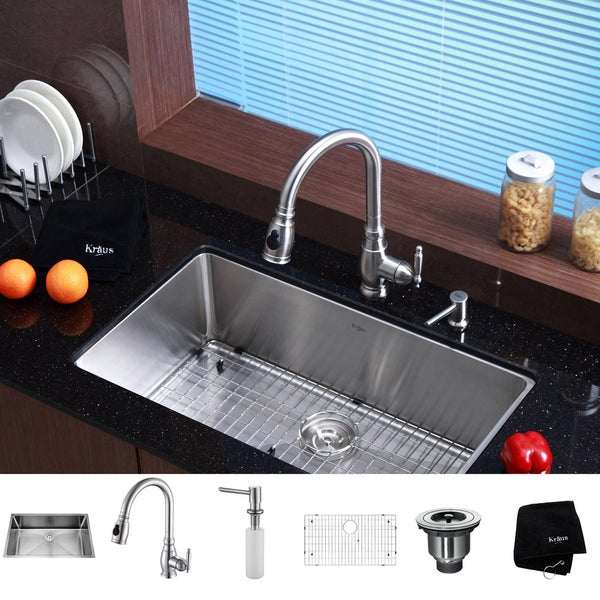 Kraus Kitchen Combo Set Stainless Steel 32-inch Undermount Sink with Faucet
