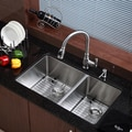Kraus 16 Gauge Stainless-Steel Undermount Kitchen Sink/Faucet/Soap Dispenser