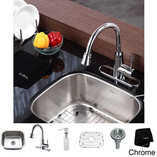 Kraus Kitchen Combo Set Stainless Steel 20-inch Undermount Sink with Faucet